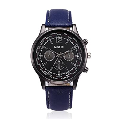 Auwer Luxury Watch, Mens Retro Design Leather Band Analog Alloy Quartz Wrist Watch Clock