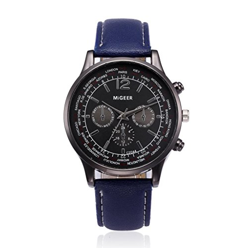Auwer Luxury Watch, Mens Retro Design Leather Band Analog Alloy Quartz Wrist Watch Clock (Blue) ()