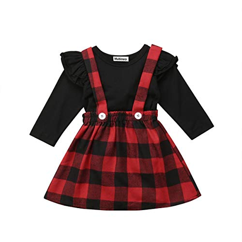 Toddler Baby Girl Infant Plain T Shirts Plaid Overall Skirt Set Cotton Outfits (Black+Red, 3-4T)