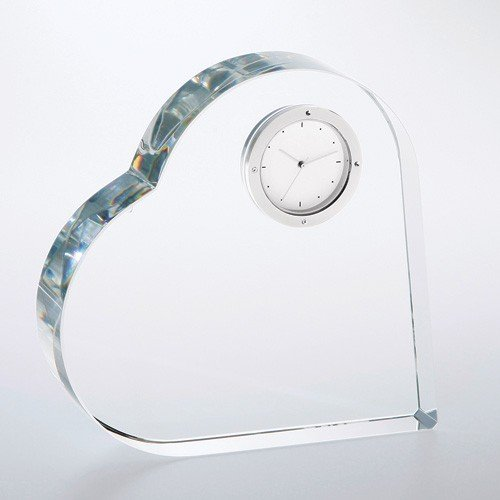 Heart Keepsake Optical Crystal Clock Award - Wedding Gift