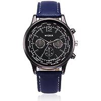 Auwer Luxury Watch, 2019 Mens Retro Design Leather Band Analog Alloy Quartz Wrist Watch Clock (Blue)