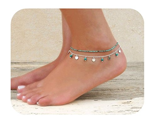 Defiro Layered Boho Anklet Turquoise Foot Chain Coin Drop Women Jewelry Turquoise Ankle Bracelet Anklet