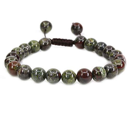 (Amandastone Natural A Grade Dragon Blood Jasper Gemstone 8mm Round Beads Adjustable Braided Macrame Tassels Chakra Reiki Bracelets 7-9 inch Unisex )