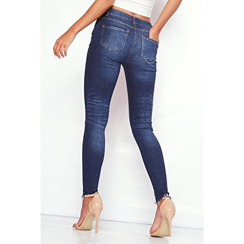 Leggings Elastiques MagiDeal Femmes bleu Demin Pieds Brods Slim Petits Mince fonc Jeans Pantalons BwvArqwI