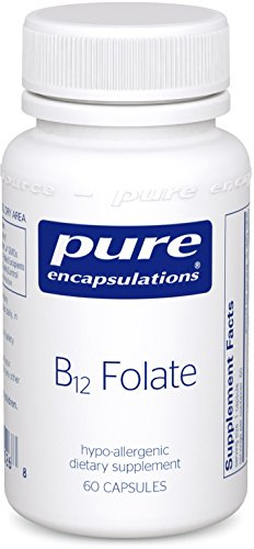 Pure Encapsulations B12 Folate Activated Vitamin B12 and Folate Hypoallergenic Supplement 60 Capsules