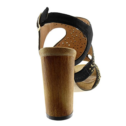 Angkorly Zapatillas Moda Sandalias Tacón escarpín Correa de Tobillo Mujer Tachonado Strass Madera Tacón Ancho Alto 10 cm Negro