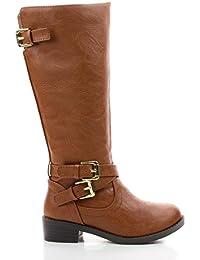 BioIIS Children Girls Knee High Zip Up Riding Boots