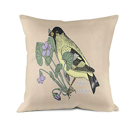 Heart Wolf New Jersey State Bird and Flower Throw Pillow Covers 45x45cm Hypoallergenic Comfortable Bed Bug Proof Cushion Cove Vintage Anti-Fading Pillow Covers (New Jersey State Bird Flower)