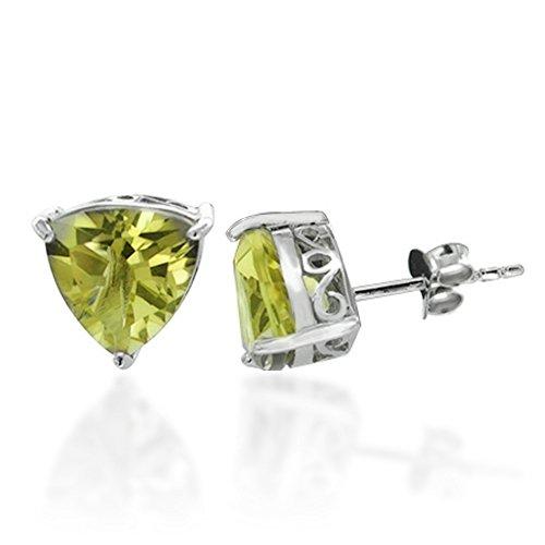 Rhodium Plated 925 Sterling Silver Green Yellow Lemon Quartz Gemstone Triangle Stud Earrings