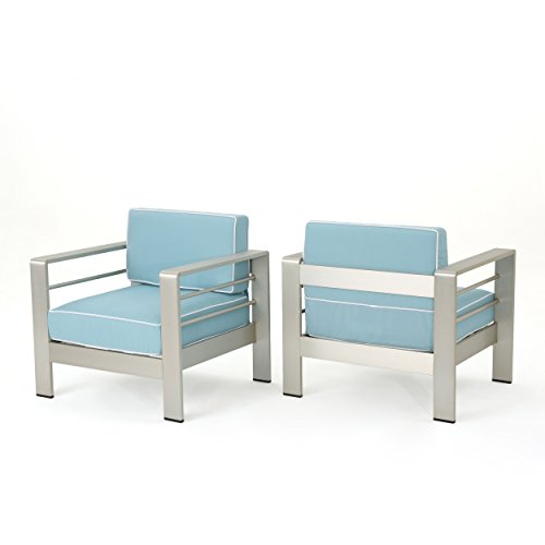 Crested Bay Outdoor Silver Aluminum Framed Club Chairs with Light Teal and White Corded Water Resistant Cushions (Set of 2)