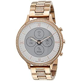 Fossil Women's 42MM Charter HR Heart Rate Stainless Steel Hybrid HR Smart Watch, Color: Rose Gold (Model: FTW7012)