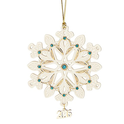 Lenox Christmas 2016 Annual Gemmed Snowflake Ornament Green Stones (Lenox Annual Ornaments)