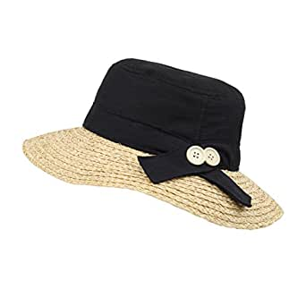 Black Foldable Straw Cloche Sun Hat, Wide Brim W/Cotton Top - Travel, Beach