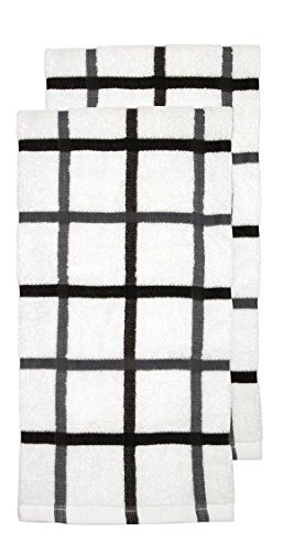 Dish 2 Towels Kitchen (RITZ KitchenWears Cotton Checked Oversized Kitchen Dish Towel Set, 2-pack, Graphite)