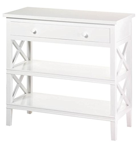 SKB Family White Console Table Bayside Style with 1 Pullout