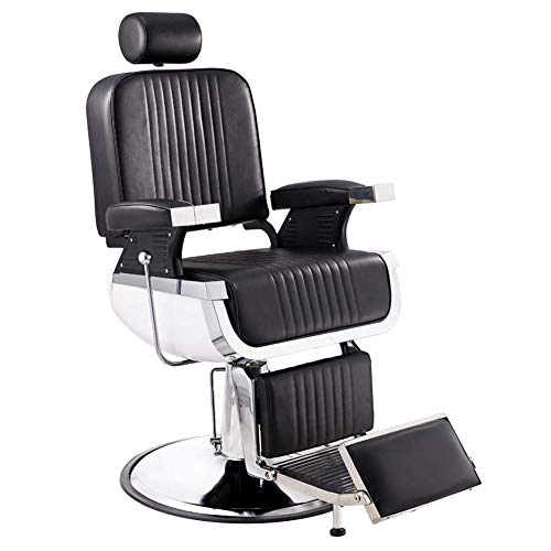 ZZYYZZ Hydraulic Barber Chair Reclining Adjustable Salon Hairdressing Tattoo Beauty Hair Styling Chair PU Leather, Black