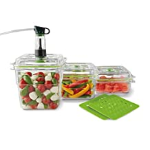 FoodSaver FA3SC358T2-033 Fresh Container, 3-Piece Bundle Plus 2 Trays, Clear