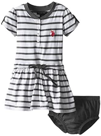 U.S. Polo Assn. Baby Girls' Striped Dress with Tabbed Short Sleeves, Black, 12 Months