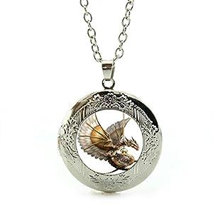 LEO BON Pendant Necklace Retro Vintage Style Steampunk Dragon Lover Pendant Jewelry Silver