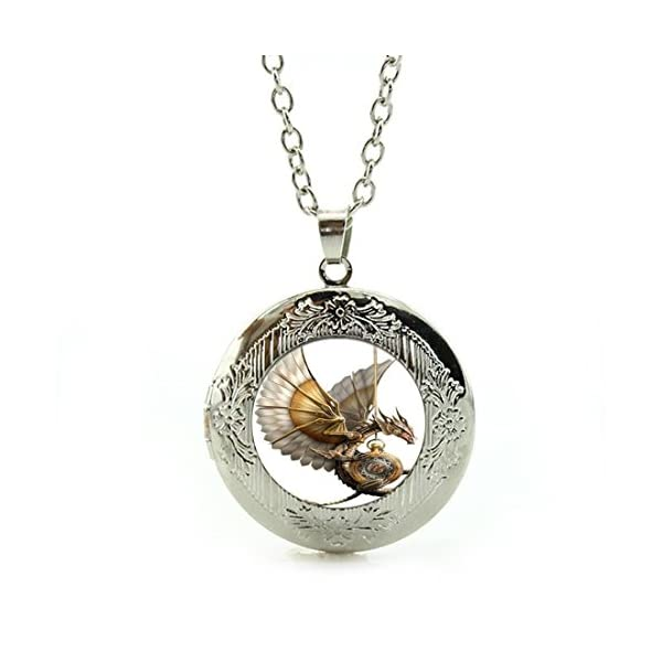 LEO BON Pendant Necklace Retro Vintage Style Steampunk Dragon Lover Pendant Jewelry Silver 3
