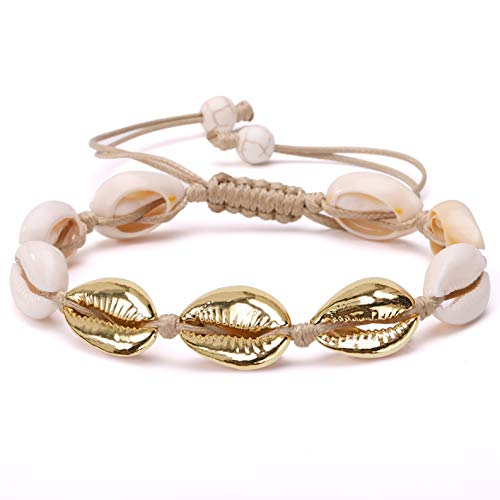Hawaiian Bracelets Gold - POTESSA Gold Plated Natural Cowrie Beads Shell Anklet Bracelet Handmade Beach Foot Jewelry Hawaiian Jamaican Style Adjustable for Women Unisex