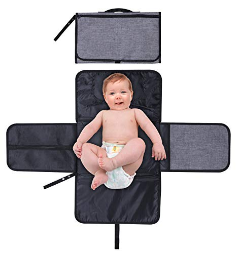 Bassion Baby Portable Diaper Changing Pad Travel Diaper Change Mat for Home, Travel & Outside, Waterproof Diaper Changing Station with Head Cushion, Mesh Pockets, Lightweight and Foldable Changing Kit