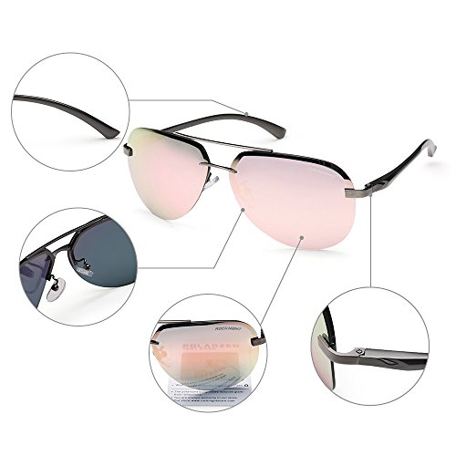 Rocknight Aviator Fashion Classic Polarized Lightweight Rimless Mirrored Lens UVProtection Sunglasses - Sunglasses Aviator Pink Hot