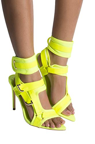 AKIRA Cape Robbin Scuba Velcro Utility Straps Pointed Toe Sexy Stiletto SandalsLime_11
