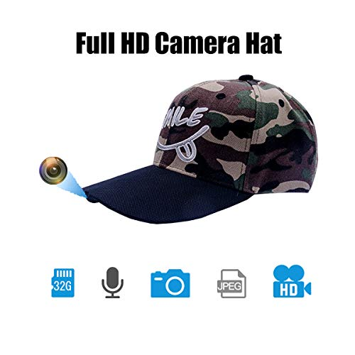 ViView Video Camera Hat Cap Recording Wide Angle HD 1920x1080P Video Photo and Audio (External 32GB TF Card) - Fun for Outdoor Sports Shooting Hiking Fishing Teaching Demo Play with Kids & Pets (Baseball Cap Spy Camera)