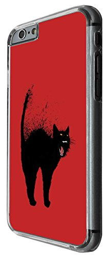 974 - Cool Fun Black Cat Art Design For iphone 4 4S Fashion Trend CASE Back COVER Plastic&Thin Metal -Clear