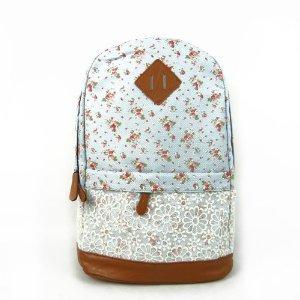 Hmxpls Cute Lace Vintage Countryside Flora School Student Backpack