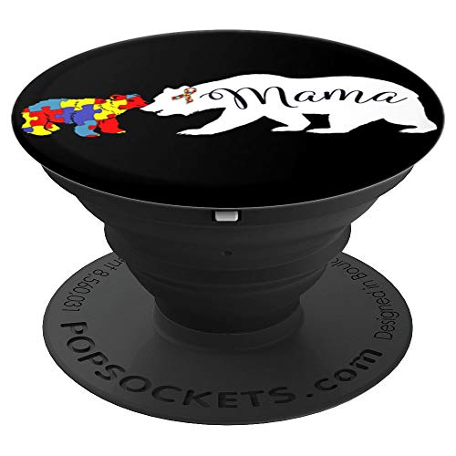 Mama Bear Autism Awareness Gift For Mom Grandma Women Gift - PopSockets Grip and Stand for Phones and Tablets