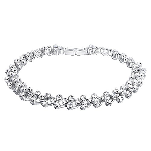 EVER FAITH Bridal Silver-Tone Circle Flower Bracelet Chain Clear Austrian Crystals
