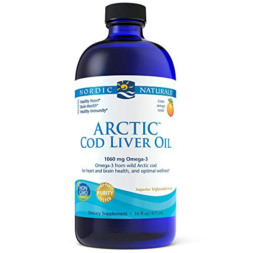 Nordic Naturals Arctic CLO - Cod Liver Oil Promotes Heart and Brain Health, Supports Immune and Nervous Systems, Orange, 16 Ounces