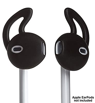 EarBuddyz iPhone Earphone Covers and Ear Hook for Apple Headphones Earbuds and Earpods for iPod iPhone 7 / 6 / 6S / 6 Plus/ 5S/ 5C/ 5 - Black (2 Pairs) by EarBuddyz