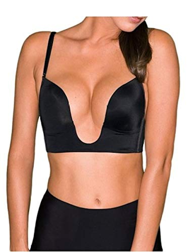 Fullness Sexy V Shape Push Up Deep Plunge Convertible V Bra Max Cleavage Booster Shaper (34C, Black)