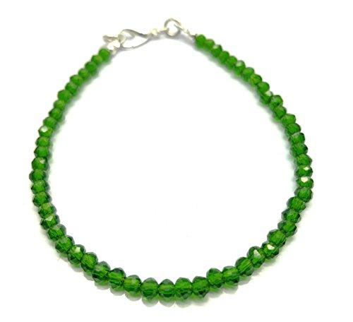 Natural Chrome Diopside 3.5 mm 7 inch Faceted Beads Free Size Adjustable Bracelet