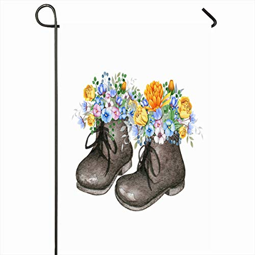 Ahawoso Garden Flag 12x18 Inches Delicate Blue Baby Little Oldfashioned Shoes Fresh Floral Brown Bouquets Nature Vintage Boots Bright Outdoor Decorative Seasonal Double Sided Home House Yard Sign (Justin Vintage Boots)