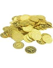 Rlevolexy 100 stuks piraten gouden munten plastic spel munten gouden schat munten Halloween partij rekwisieten