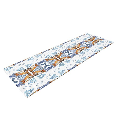 Kess InHouse DLKG Design Red Fox in Snow Yoga Exercise Mat, Blue/Orange, 72 x 24-inch by Kess InHouse