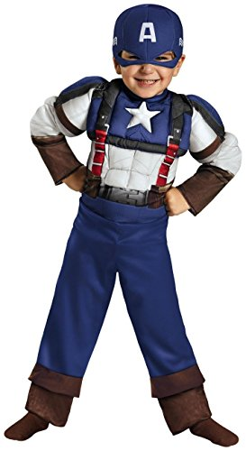Disguise Marvel Captain America The Winter Soldier Movie 2 Captain America Retro Toddler Muscle Costume, Medium (3T-4T)