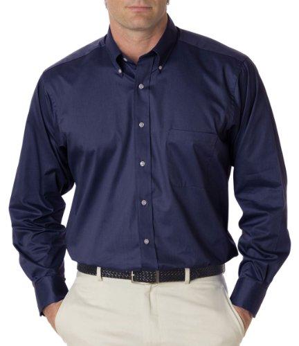 Van Heusen Men's Long Sleeve Relaxed Twill Dress Shirt, Nvy, X-Large ()