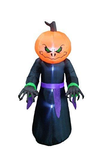[BZB Goods 8 Foot Illuminated Halloween Inflatable Pumpkin Overlord Decoration] (Halloween Outdoor Inflatables)