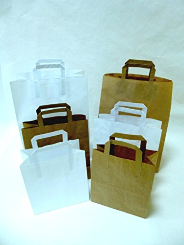 100 St. Papiertragetaschen braun mit Henkel 175x90x230 mm, Papiertüten, Papierbeutel, Einkaufstüten, Geschenktüten