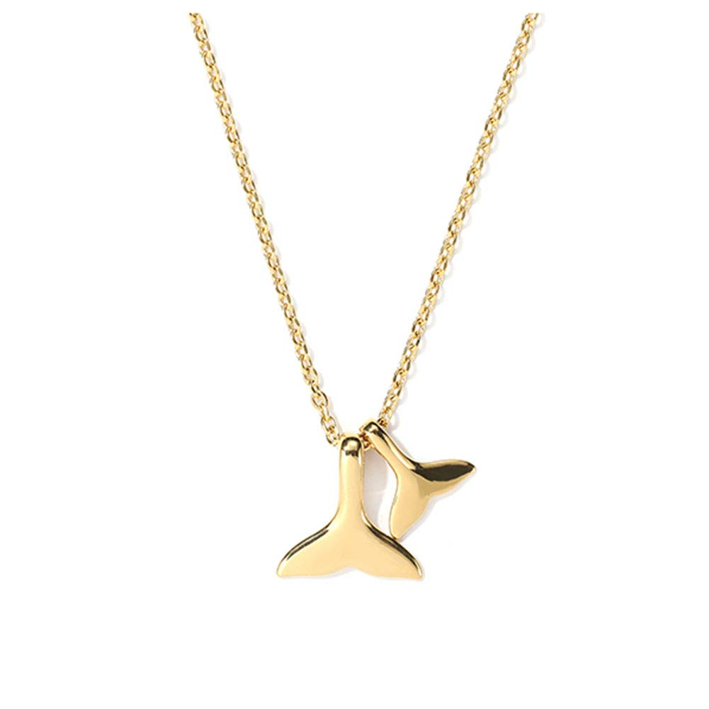 YinXX Woman Necklace Dolphin Tail Pendant Necklace Couple of Fashion Decorative Accessories Jewelry Chain Length 22//28 Inches Gold Silver