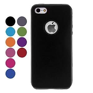 Procesamiento de dos días -Híbrido de aluminio color sólido y de silicona interior contraportada caso difícil para 5/5s (colores opcionales) iphone,Black