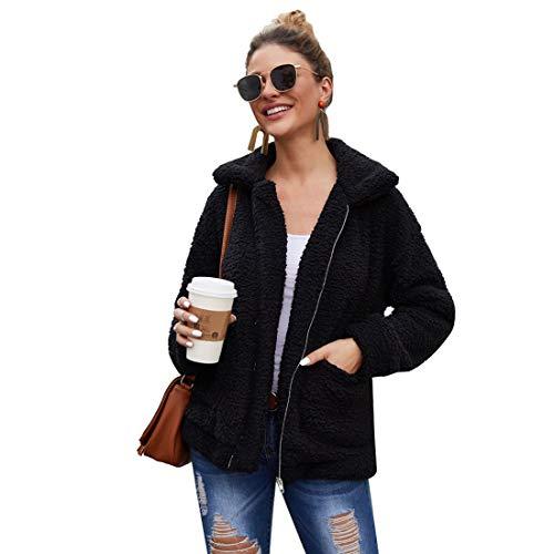 Milky Way Women Coat Casual Lapel Fleece Fuzzy Faux Shearling Zipper Coats Warm Winter Oversized Outwear Jackets (Black,M)