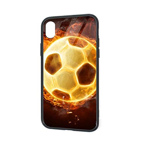 Diemeouk Burning Soccer iPhone XR TPU Glass Case,Anti-Scratch Shock Absorption Cover Case,Full-Body Protective Cover Case for Boys Girls ()
