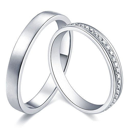 Platinum Solid Pure PT 950 Natural Diamond Promise Wedding Engagement Fashion Couple Ring Set for Men and Women