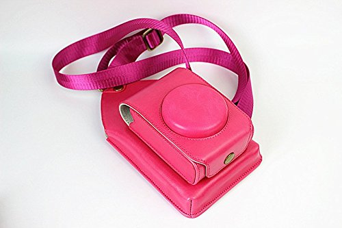 Multi Function Protective PU Leather Vertical Digital Camera Case Sling Crossbody Adjustable Shoulder Strap Bag with Phone Money Storage Organizer for Casio ZR3600 Sony HX90V Canon G9x SX720 Magenta